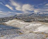 Abandoned Dava, Dava Moor, Highands, Scotland, snow, sun, golden, grass, flecked, sky, cloud, bothy, derelict, fence, po photo