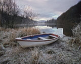 Loch Ard, abandoned, Aberfoyle, Scotland, boat, winter, frost, jetty photo