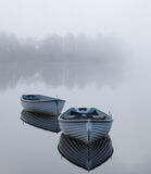 Adrift Rusky, Loch Rusky, Trossachs, Scotland, separated, boats, delicate, line, silhouetted, trees, reflected, orientat