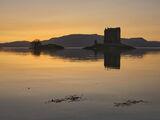 Amber Stalker, Appin, Argyll, Scotland, iconic, island, castle, superb, view, shoreline, tide, windless, sunset, ruddy,  photo