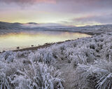 Arctic Blast, Loch A Chroisg, Achnasheen, Scotland, chilling, cold, sunset, west, loch, sky, crimson, ochre, violet, fro photo
