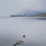 Ardvreck Tranquility, castle, bleak, overcast, October, cool, shiver, morning sunrise, mood, stillness, loch, magic photo