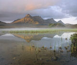 Awakening Ben Loyal, Loch Hakel, Sutherland, Scotland, serene, chill, reed, mist, veil, peak, loch, performance, atmosph photo