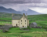 Balnakeil House, Balnakeil, Sutherland, Scotland, house, old, pleasing, dunes, chimney, mountains, blue, rain laden, hea photo