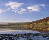 Becalmed Loch a Chroisg, Loch a Chroisg, Achnasheen, Scotland, beautiful, sunshine, mirror, reflection, clouds, ice, sno photo