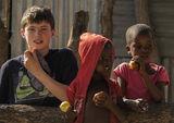 Ben and Kids, Okavango Delta, Botswana, Africa, kids, photographs, Ben, tin shack, homes photo