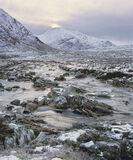 Big Bend Coupall, Glen Etive, Glencoe, Scotland, river, heather, moorland, Buachaille etive mor, delicate, light, snow photo