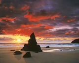 Blood Red Durness, Durness, Sutherland, Scotland, summer, sunrise, outstanding, beach, silhouette, pinnacles, gold, red photo