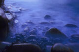 Blue Rinse, Clashach Cove, Moray, Scotland, indigo, clouds, dark, sea, light, rocks, deep, blue, ghostly, twilight photo