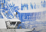 Cod Art, Ballstad, Lofoten, Norway, wedgewood, mural, hangar, shed, boat, fishing, juxtaposition, painted, fading, crew  photo