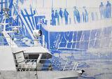 Cod Art, Ballstad, Lofoten, Norway, wedgewood, mural, hangar, shed, boat, fishing, juxtaposition, painted, fading, crew  photo