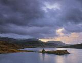 Breaking Dawn Assynt, Ardvreck Castle Assynt, Scotland, dawn, snow, ridge, winter, castle, loch, light, reflection, shad photo