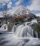 Buachaille Frieze, Rannoch Moor, Glencoe, Scotland, iconic, mountain, snowcapped, resplendent, sunlight, morning, winter photo