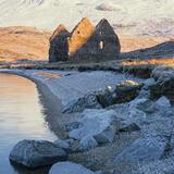 Calda House Chill, Loch Assynt, Assynt, Scotland, derelict, ruin, Ardvreck castle, sunrise, snow, blue, beach, shingle  photo