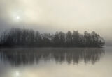 Champagne Sunrise Rusky, Loch Rusky, Trossachs, Scotland, fizz, gorgeous, scene, emerging, mist, sunrise, backlighting,  photo