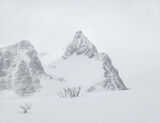 Charcoal Peak 2, Melfjordbotn, Senja, Norway, graphite, charcoal, etching, pencil, mist, sleet, subdued, beautiful  photo