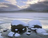 Chilled Loch Morlich, Loch Morlich, Cairngorm, Scotland, beautiful, morning, clouds, frozen, sun, ice, condensation, mis photo