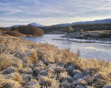Chilled Strathbran, Strathbran, Achnasheen, Scotland, frost, ground, bog, reflective, blue, mountain, grasses, dessicate photo