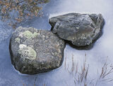 Chilled, Lower Falls, Glencoe, Scotland, two, rocks, lichen, frosted, cool, ice, heather, grass, frozen, blue, reddish   photo