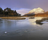 Clair Ice, Loch Clair, Torridon, Scotland, winter, morning, lemon, sun, cloud, peak, snow, Liathach, fractured, oblique, photo
