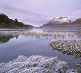 Clair Lilac, Loch Clair, Torridon, Scotland, soft, clouds, pinkening, twilight, pre-dawn, Liathach, snow, Scots pine, re photo