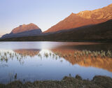 Clair Morning, Loch Clair, Torridon, Scotland, carrot, morning, sunlight, Liathach, Beinn Eighe, reeds, stiffened, refle photo