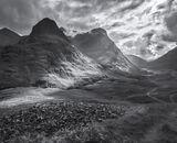Clearing Storm Glencoe Mono, Glencoe, Highlands, Scotland, velvet, slopes, black and white, quality, rolling, Three Sist photo