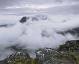 Closure, Stac Pollaidh, Inverpolly, Scotland, summit, mountain, climb, narrow, ledge, cloud, Cul Mor, cloaked, grey   photo