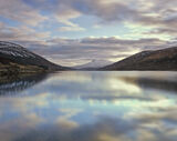 Cloud Mirror, Loch A Chroisg, Achnasheen, Scotland, gorgeous, winter, sky, sunrise, reflected, loch, pink, blue, cyan, g photo