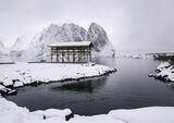 Cod Pagoda, Sakrisoy, Lofoten, Norway, wintery, mood, understated, Cod, drying, rack, wooden, structure, snow, mountain  photo