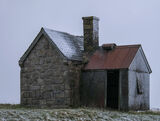 Cold Twilight, Elphin, Elphin, Assynt, Scotland, winter, grey, contrast, red, roof, shack, abandoned, peak, hilltop, sno photo