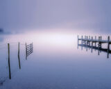 Coniston Transient Dawn, Coniston Water, Cumbria, England, mist, hovering, lake, pink, twilight, blues, delicate, colour photo