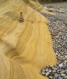 Cove Bay Sculpture, Cove Bay, Moray, Scotland, coast, sandy, beach, rock, ochre, sculpted, sandstone, bedrock, tower   photo