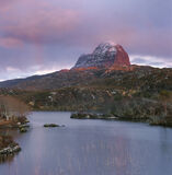 Crimson Peak, Loch Druim Suardalain, Assynt, Scotland, Suilven, peaks, sore, hills, shower, rainbows, sunset, rose   photo
