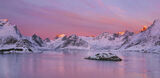 Crown Of Thorns, Selfjord, Lofoton, Norway, mountain, peaks, island, separation, birch, shrubbery, curtain, brush, blood photo
