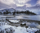 Crowning Glory Loch Clair, Loch Clair, Torridon, Scotland, winter, sun, shadows, mountain, snow, crown, rays, clouds  photo