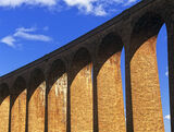 Culloden, viaduct, Inverness, Scotland, arches, blue, clouds,brick, repeating  photo