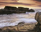Daisy Rock, Hopeman, Moray, Scotland, outcrop, rock, bedrock, sandtone, golden, shine, patterned, setting, sun, sea, ref photo