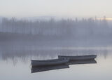 Dawn Slumber Rusky 1, Loch Rusky, Trossachs, Scotland, slumbering, pale blue, row boats, floating, twilight, mirror photo
