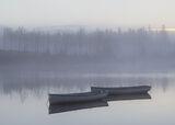 Dawn Slumber Rusky 1, Loch Rusky, Trossachs, Scotland, slumbering, pale blue, row boats, floating, twilight, mirror
