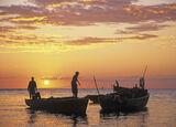 Days End Zanzibar, West Coast, Zanzibar, Africa, sun, sinks, slowly, fishermen, night, fishing, lamps, nets photo