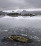 Dead Pan, Rannoch moor, Glencoe, Scotland, grey, winter, monochromatic, light, shade, ice, lichen, rock, rippled, landsc photo