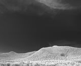 Dream Dunes Mono, bizarre, Ansel Adams, prairie, shapely, grass, dunes, black and white, surreal, wispy, cirrus, clouds photo