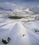Drift Lines Drumrunie, Drumrunie, Inverpolly, Scotland, beautiful, sculpted, snow, lines, triangulate, frozen, basin  photo