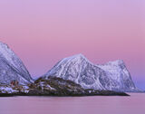Earth Shadow Hamn, Hamn, Senja, Norway, stunning, pink, sunrise, anti-solar point, intense, projected, blue, shadow photo