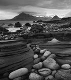 Elgol Pebbles Mono, Elgol, Skye, Scotland, rocks, pebbles, shapes, sizes, hues, colourful, tide, bedrock, Cuillins, poin photo