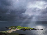 Eribol Tombolo, Loch Eribol, Sutherland, Scotland, darkness, sea loch, view, lofty, transient light, cottage, green, gra photo