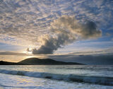 Eruption Traigh Mhor, Traigh Mhor, Harris, Scotland, evening, Harris, beach, hill, erupted, sky, salt spray, blowing, sa photo
