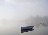 Ethereal 1, Loch Rusky, Trossachs, Scotland, autumnal, concealed, revealed, composition, tree line, discernible, boat