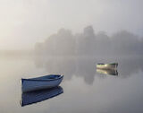 Ethereal 2, Loch Rusky, Trossachs, Scotland, autumnal, view, concealed, revealed, simplifies, composition, boat, highlig